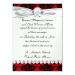 red and black romantic damask 14cm x 19cm invitation card