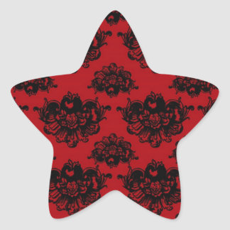 red and black romantic damask star sticker