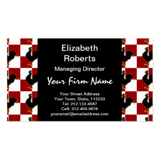 Red and Black Rooster Chicken Pattern Business Card Template