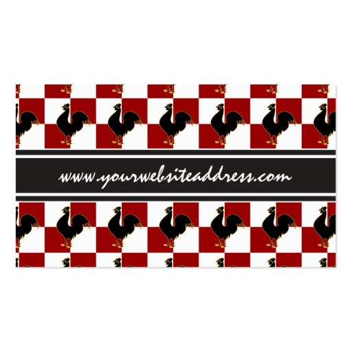 Red and Black Rooster Chicken Pattern Business Card Templates