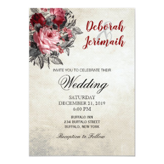 Red and Black Roses Wedding Invitation