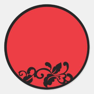 red and black round sticker