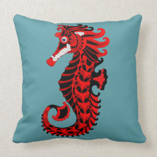 Red and Black Seahorse Cushion