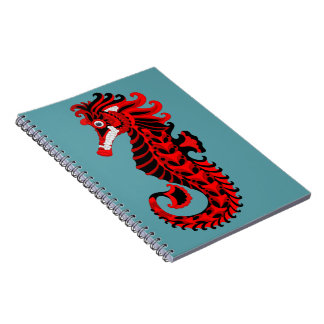 Red and Black Seahorse Spiral Note Books