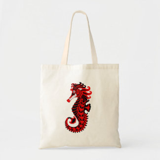 Red and Black Seahorse Tote Bag
