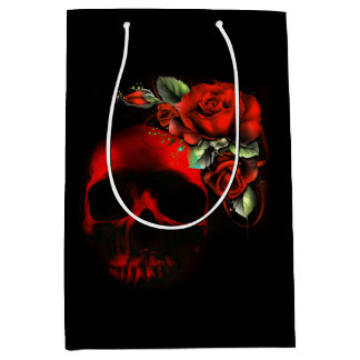 Red and black skull and roses medium gift bag