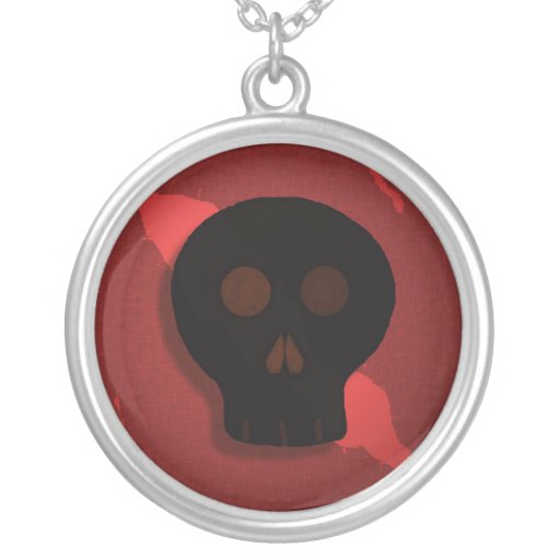 Red and Black Skull Necklace