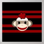 Red and Black Sock Monkey Girl Flower Hat Print