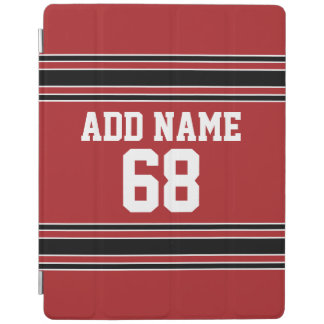 Red and Black Sports Jersey Custom Name Number iPad Cover