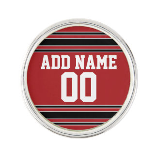Red and Black Sports Jersey Custom Name Number Lapel Pin