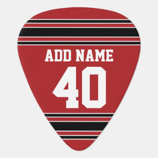 Red and Black Sports Jersey Custom Name Number Plectrum