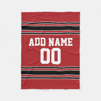 Red and Black Sports Jersey Personalized Fleece Blanket