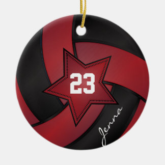 Red and Black Star Volleyball Round Ceramic Decoration