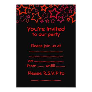 Red and Black Stars 13 Cm X 18 Cm Invitation Card