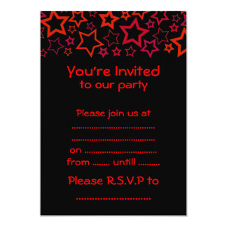 "Red and Black Stars 5"" X 7"" Invitation Card"
