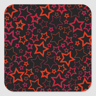 Red and Black Stars Square Sticker