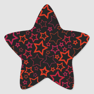 Red and Black Stars Star Sticker