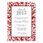 Red and Black Swirl Damask Graduation Announcement