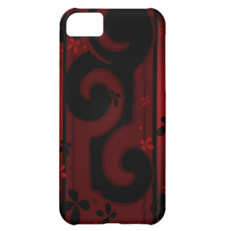 Red and Black Swirl with flowers iPhone 5C Covers