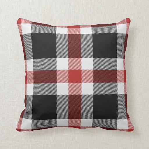 red and black tartan cushion throw pillows zazzle