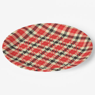 Red and Black Tartan Plaid Paper Plates