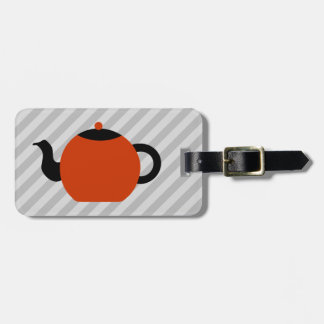Red and black teapot design, on gray stripes. luggage tag