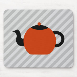 Red and black teapot design, on gray stripes. mouse pad
