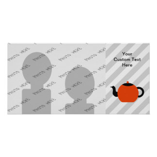 Red and black teapot design, on gray stripes. customized photo card
