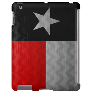 Red and Black Texas Flag Brushed Metal Chevron iPad Case