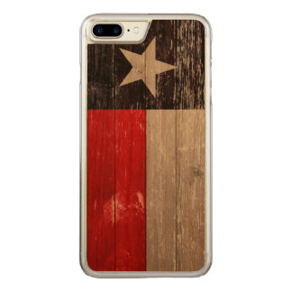 Red and Black Texas Flag Painted Old Wood Carved iPhone 8 Plus/7 Plus Case