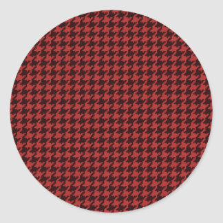Red and Black Textured Houndstooth Pattern Round Stickers