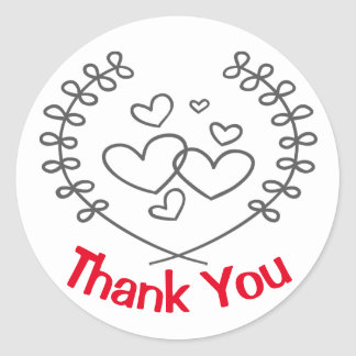 Red And Black Thank You Laurel Wreath Hearts Love Round Sticker