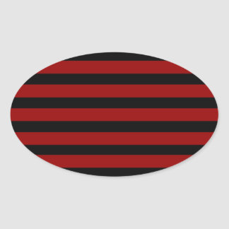 Red and Black Thick Striped Layer Pattern Oval Sticker