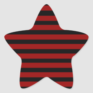 Red and Black Thick Striped Layer Pattern Star Stickers