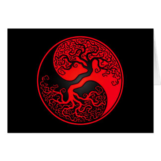 Red and Black Tree of Life Yin Yang Card