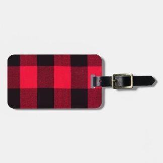 Red and Black Trendy Buffalo Plaid Luggage Tag