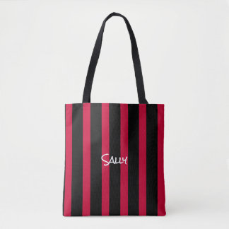 Red and Black Vertical Stripes Pattern Your Name Tote Bag