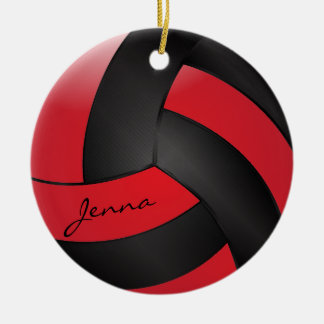 Red and Black Volleyball | DIY Name Christmas Ornament