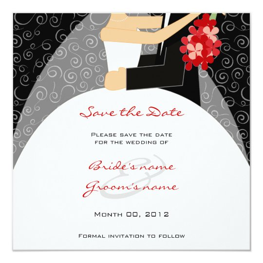 Red and Black Wedding Save the Date cards