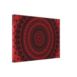 Red and Black Wheel Mandala 1 C1 SDL Gallery Wrap Canvas