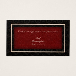 Red And Black Winter Wedding Gift Registry Card
