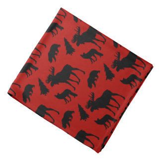 Red and Black Woodland Pattern Bandana