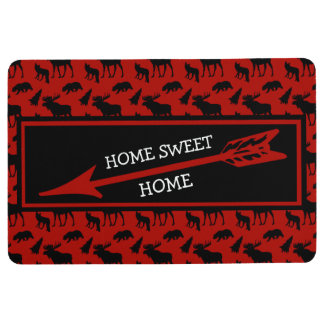 Red and Black Woodland Pattern Home Sweet Home Floor Mat