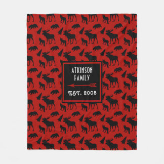 Red And Black Woodland Pattern With Family Name Fleece Blanket