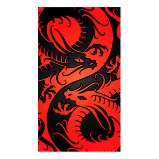 Red and Black Yin Yang Chinese Dragons Business Card Template