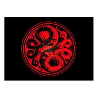 Red and Black Yin Yang Chinese Dragons Business Card Templates