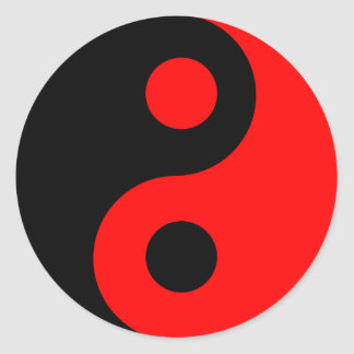 Red and Black Yin Yang Classic Round Sticker