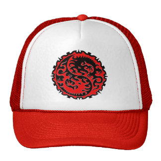 Red and Black Yin Yang Dragon Hat