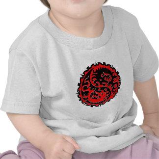 Red and Black Yin Yang Dragon T-shirts