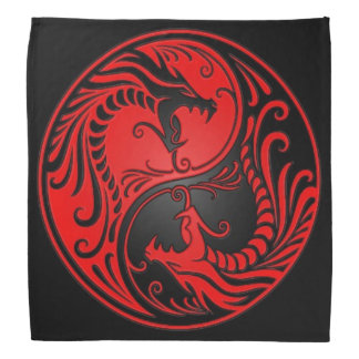 Red and Black Yin Yang Dragons Bandanas